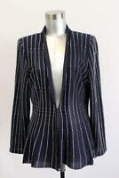 MING WANG Dark Blue MODERN Clasp Front Sweater Designer Collarless Fine-Knit S