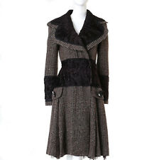 runway DOLCE GABBANA AW05 brown tweed mongolian fur lace insert coat dress IT40