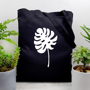 Monstera Deliciosa Plant Leaf Print Cotton Tote Bag Indoor Houseplant Lover Gift