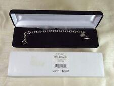 Vintage New Girl Scouts Silvertone Award Charm Toggle Bracelet #1H-014685-1