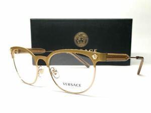 VERSACE VE1268 1465 Matte Gold Demo Lens Women's Eyeglasses 53 mm