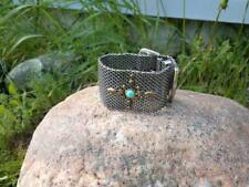 "9"" Lucky Brand BELT Bracelet Silver Tone Chunky Toggle Semi Precious Stone"