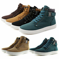 Mens Fashion Leather Walking Shoe Casual High Top Shoes Canvas Sneakers Boots