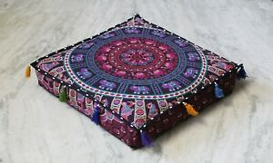 """New 24X24"""" Square Mandala Cushion Cover Dog Bed Cover Indian Floor Pillow Cover*"""