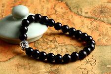 "Men's Sliver Buddha Head with Obsidian Beaded Stretch Bracelet 8"" / 8MM"