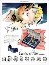 1943 Evening in Paris perfume Bourjois gift boxes vintage art Print Ad  adL19