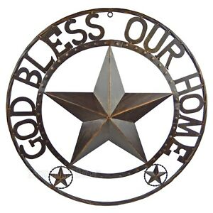 """24"""" God Bless Our Home Metal Barn Star Rustic Brown Texas Rope Ring Wall Decor"""