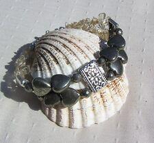 """Golden Pyrite Heart & Citrine Crystal Gemstone Bracelet """"Hanover"""""""