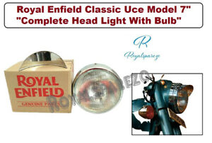 """ROYAL ENFIELD CLASSIC UCE MODEL 7"""" """"COMPLETE HEAD LIGHT WITH BULB"""""""