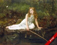 BEAUTIFUL YOUNG GIRL WHITE DRESS FISHING & BUTTERFLY PAINTING ART CANVAS PRINT