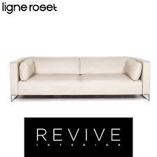 ligne roset Urbani Leder Sofa Creme Dreisitzer Couch #13349