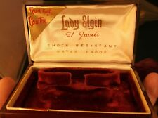 "Fantastic Vtg ""Lady Elgin 21 Jewels, Town & Country"" Wristwatch Box, Burgundy"