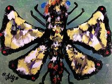 Modernist ABSTRACT Expressionist Wall ART Painting BUTTERFLY INSECT FRIEND FOLTZ