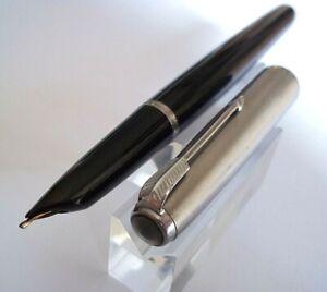 Parker 1906731 Perle 1pi/èce stylo-plume Perle, Aluminium, Acier inoxydable, Fin, Noir, Encre /à base deau s stylos-plume