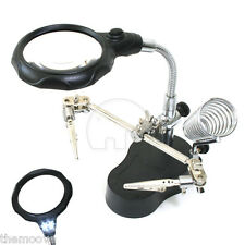 LED Helping Hand Clip Magnifying Soldering Iron Jewelry Stand Lens Magnifier