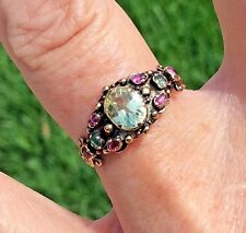 Victorian Chrysoberyl, Emerald, and Ruby  14k Yellow Gold Ring, Size 7