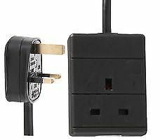 Single Socket Extension Lead, 1 meter lead Black -  PEL00517