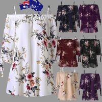 AU Fashion Womens Plus Size Floral Print Cold Shoulder Blouse Casual Tops Camis