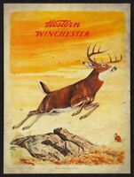WESTERN WINCHESTER MAN DEER HUNTING HEAVY DUTY USA MADE METAL ADVERTISING SIGN