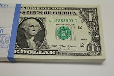 10 New Uncirculated  1 One Dollar Bills from BEP Pack