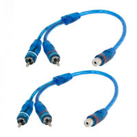 2pcs Female RCA Adapter to 2 Male RCA Jacks Y Shaped Adapter Splitter Cable Blue