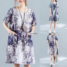 Vintage Women Maxi Cotton Linen A Line Floral Loose Casual Tunic Summer Dress XL