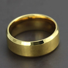 Ring 9ct Gold GF Rounded Wedding Band Comfortable size X Brushed Style
