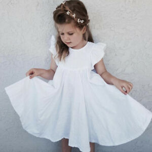 UK Toddler Baby Girl Solid Clothes Ruffle Sleeve Dress Skirt Cotton Dresses 1-7Y
