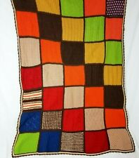 Hand Knit Afghan Vintage Throw Blanket Patchwork Handmade Colorful Crochet 40x68