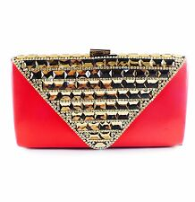 USA WOMENS Evening HANDBAG Clutch Purse RHINESTONE CRYSTAL Wedding Red Brown 13