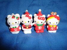 "Hello Kitty winter Holidays mini 1.25"" PVC Charm Figures 4 pc lot"