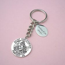Personalised Saint Christopher Keyring With Engraving Christian Catholic Gift