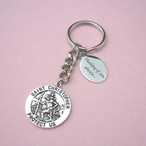Personalised Saint Christopher Keyring with Engraving Christian Catholic Gift