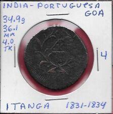 INDIA PORTUGUESA GOA 1 TANGA (60 REIS)1826-1834 F D.MIGUEL I,GOA MINT,CROWNED AR