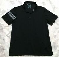 Adidas Climacool Men's Size Large L Short Sleeve 3 Stripe Black Polo Golf Shirt!
