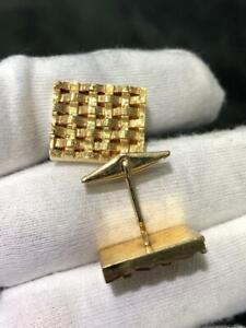 14k Yellow Gold Vintage Hand Made Basket Weave Rectangular Cufflinks 12.0 Gr