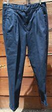 Haggar Mens Sz 34 x 32 Premium No Iron Classic Fit Pleated Pants Navy Blue #O-23
