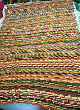 "vintage Hand-Made Crocheted Blanket (75 X 46"") Fringe embroidered Rainbow Colors"