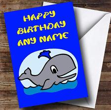 Whale Cartoon Personalised Birthday Greetings Card