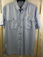 Magellan Mens S Blue Plaid Button Down Fish Gear Short Sleeve Shirt Vented