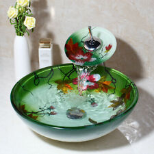 US Round Lotus Painted Glass Bathroom Basin Bowl Vessel Sink Mixer Faucet Combo