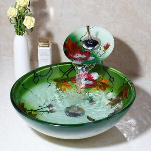 US Lotus Hand Paint Tempered Glass Bathroom Basin Bowl Vessel Sink Mixer Faucet