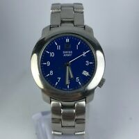Vintage Swiss Army 90's Mens V7-00 Blue Dial Stainless Steel Band Quartz Watch