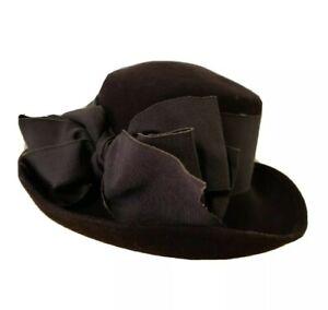 ERIC JAVITS Wide Brim Hat Chocolate Brown 100%  Wool & Ribbon EUC