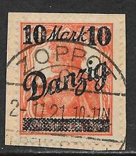 Danzig stamps 1920 Mi 46Ii on fragment Canc Vf