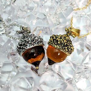 Antique Gold Or Silver Tone Vintage Style Glass Acorn Pendant Necklace