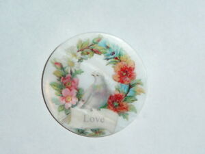 """Love Bird In Wreath Button on Mother of Pearl MOP Shank Button 1+3/8"""" LOVE"""