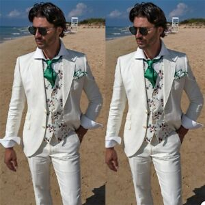 2PCS Men Linen White Beach Wedding Suits Casual Man Blazer Custom Groom Tuxedo