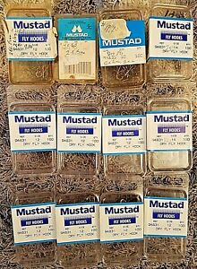 12 New Mustad Fly Tying Hooks Dry Fly 94831 Fishing Trout Sizes 12 14 10 Lot *NR