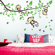 Monkey Tree Birds Wall Stickers Kids Nursery Art Decal Paper Jungle Animal Decor